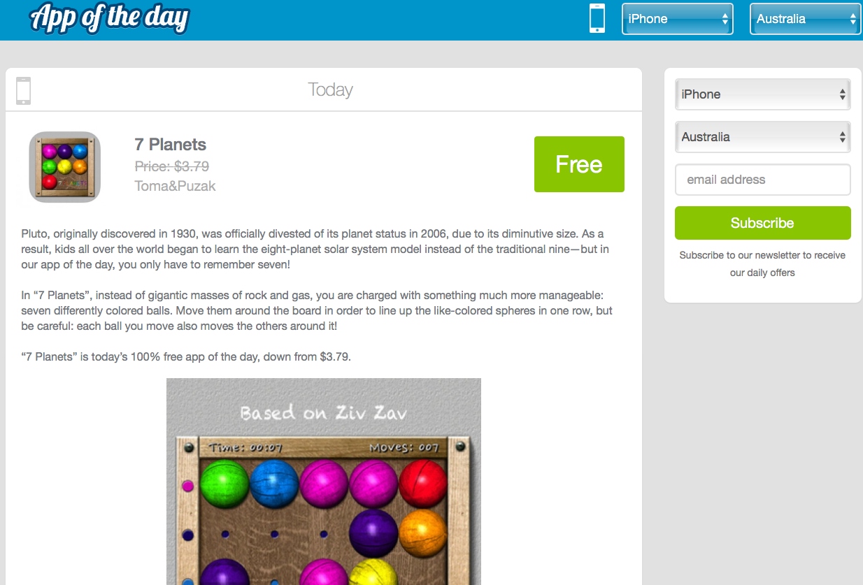 7 Planets featured as App of the day | Drugi kat